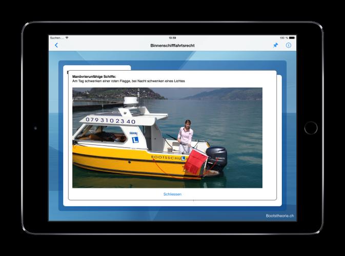 Erfolgreich an die theoretische Bootsprüfung Schweiz 2017. Alle aktuellen Prüfungsfragen und Antworten mit der App Bootstheorie.ch lernen.